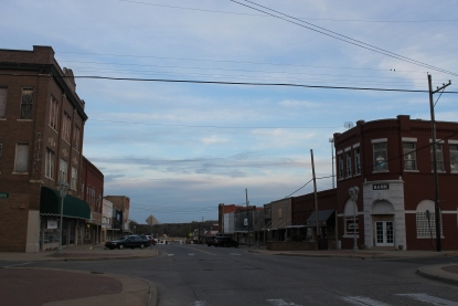 Downtown Atoka at dusk